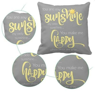 18''X18'' You Are My Sunshine Cotton Throw Pillow Case Decor Cus Cover L0C0 H3H1 • 3.66£
