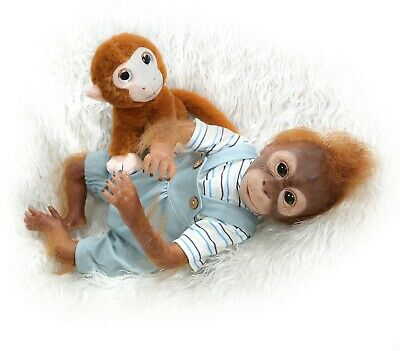 21 Lifelike Reborn Baby Monkey Dolls Soft Vinyl Silicone Realistic Toys For Kids • 59.99£