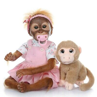 21  Lovely Reborn Baby Girl Monkey Dolls Soft Vinyl Silicone Reborn Doll Gifts • 59.99£