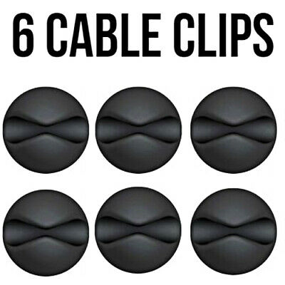 6x Black Cable Wire Cord Lead Drop Clips Usb Charger Holder Tidy Desk Organiser • 2.65£