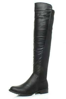 Womens Ladies High Over The Knee Stretch Pull On Low Heel Boots Size 5 38 • 21.99£