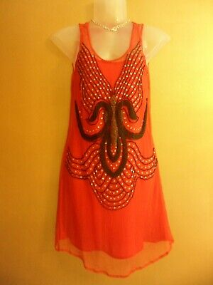 Kate Moss Limited Edition Red Art Deco Beaded Flapper Dress Size 10  • 55£