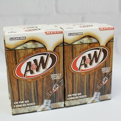 A&W Root Beer Sugar Free Drink Mix Singles To Go! 6 Boxes / 36 Packets Total  • 11.20£