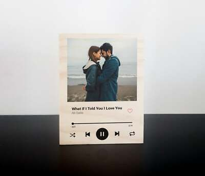 AU52.99 • Buy Photo Music Plaque Spotify Song Clear Black Acrylic Wood Friend Couple Gift