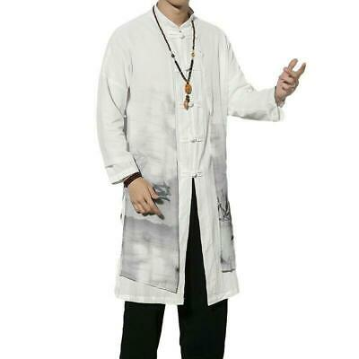 $69.29 • Buy Mens Trench Coats Chinese Style Long Gown Jackest Printed Cotton Windbreaker HOT