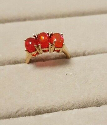 £25 • Buy Sterling Silver Gold Plated Mexican Fire Opal Ring