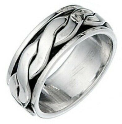 Elements 925 Oxidised Sterling Silver Men's Twisted Band Spinning Stress Ring • 47.95£