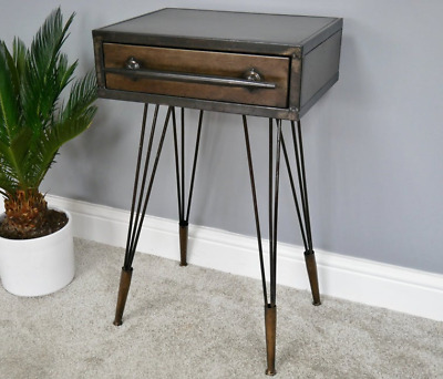 Metal Bedside Table Industrial Vintage Side Cabinet Rustic Hairpin Leg Room Unit • 79.90£