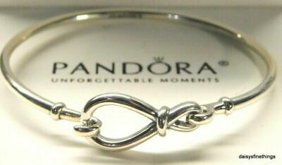 RARE Genuine Sterling Silver PANDORA INFINITY KNOT Bangle Bracelet 18cm • 11.60£