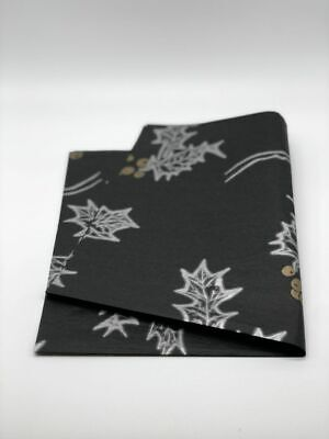 £2.29 • Buy Black Paper With Gold Christmas Holly Tissue Paper 500mm X 750mm 18gsm
