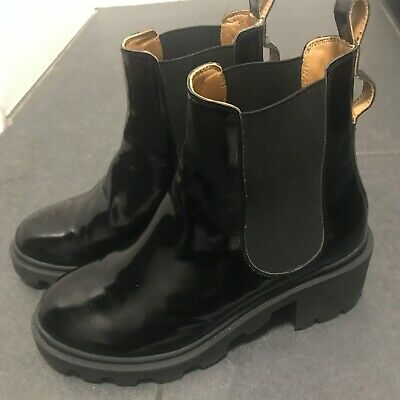 GUCCI Womens Black Ankle Boots Chelsea Size 39 9 Combat Snake Short Leather • 573.50£