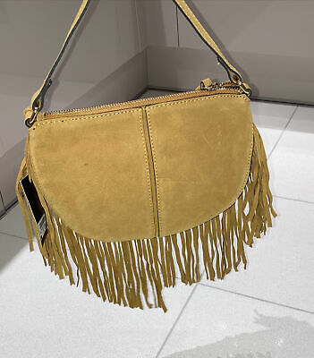 Next Orchre Suede Leather Fringe Cross Body Bag BNWT  • 22.99£
