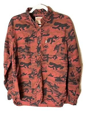 $22.39 • Buy Levi Men's Medium Red Long Sleeve Collared Button Up Shirt Red Camo