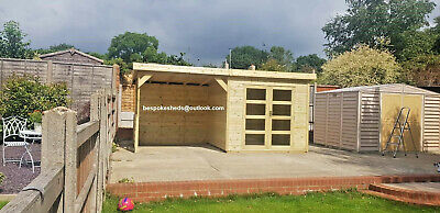 Pent Summerhouse With Shelter Shed Log Cabin Hot Tube T&G Treated Workshop  • 2,500£