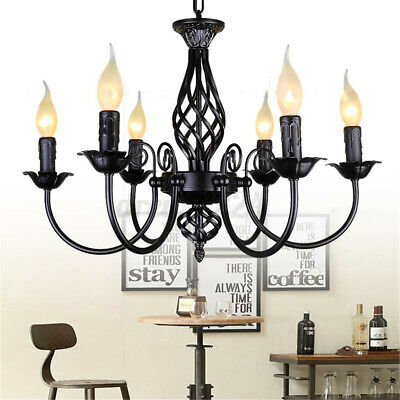 Vintage Style Chandelier Hanging Candle Light Ceiling Lamp Wrought Iron Pendant  • 52.59£