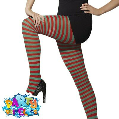 £3.99 • Buy Ladies Elf Tights Striped Red And Green Christmas Fancy Dress Costume