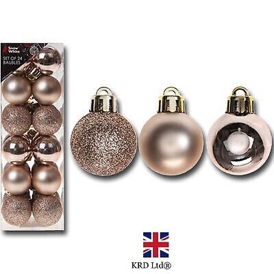 24 Pack Christmas Tree Ornaments Hanging Baubles Rose Gold Xmas Decor P513330 UK • 5.90£