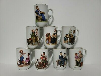 $ CDN44.39 • Buy Vintage Norman Rockwell Gold Trim Mug Cup Set Of 8, Museum Collection 1982