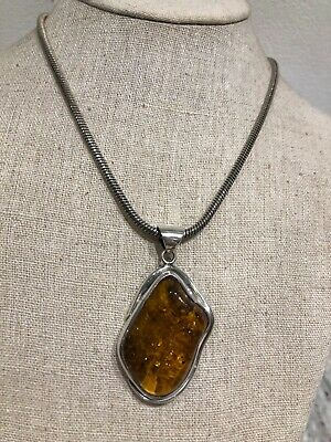 Large Polish Genuine Baltic Amber Sterling Silver 925  Pendant Necklace 40 Grams • 139£