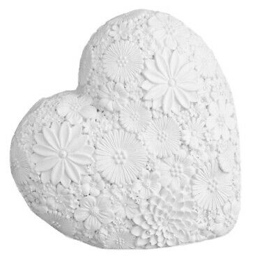 White Resin Flower Heart Sculpture Ornament Love Art Deco Mantle Piece Gift Xmas • 9.97£