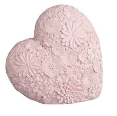 Pink Resin Flower Heart Sculpture Ornament Love Art Deco Mantle Piece Gift Xmas • 9.97£