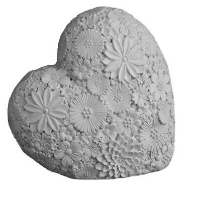 Grey Resin Flower Heart Sculpture Ornament Love Art Deco Mantle Piece Gift Xmas • 10.47£