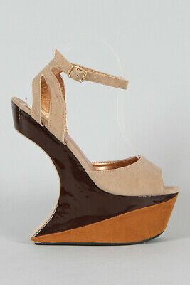 Brown Camel Tan Nude Colorblock Ankle Strap Heel Less Curved Cutout Wedge Sandal • 47.07£