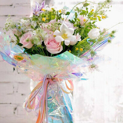 20PCS Iridescent Film Cellophane Flower Bouquet Gift Wrapping Packaging Craft • 5.69£
