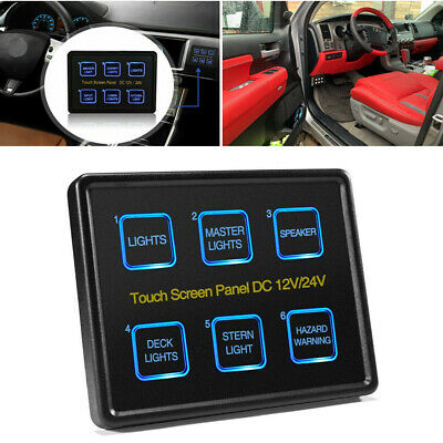 AU68.95 • Buy 6 Gang Switch Panel LED Touch Screen Circuit Control Box For Marine Boat Caravan
