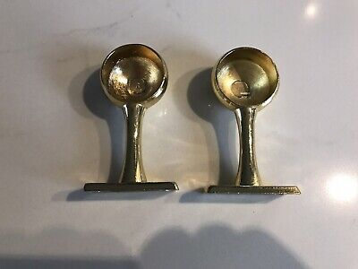 Pair Of Brass Wardrobe Curtain Pole Fixings • 5£