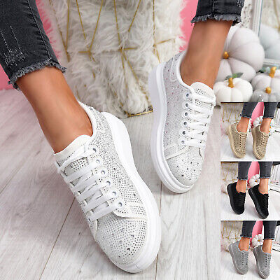 $ CDN29.79 • Buy Womens Ladies Studded Trainers Party Diamante Sneakers Women Comfy Shoes Size