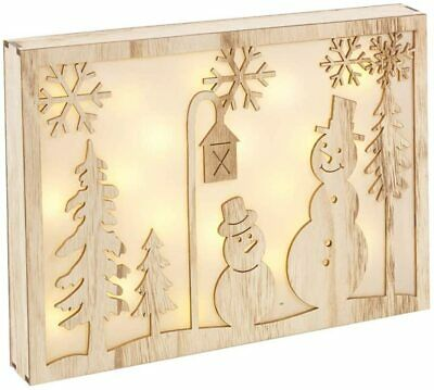 £12.95 • Buy Christmas Snowman Silhouette Rustic Wooden Frame Light Lamp Wall Desk Decoration