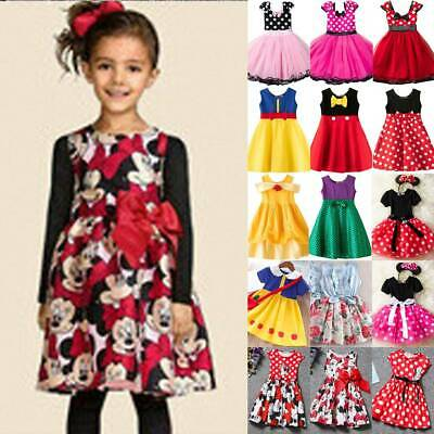 Kids Girls Princess Cartoon Mickey Minnie Mouse Evening Party Gown Tutu Dress • 12.34£