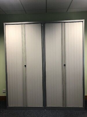 Bisley 2.2m Tambour Storage Cupboards In Silver With Grey Doors 18 Available  • 195£