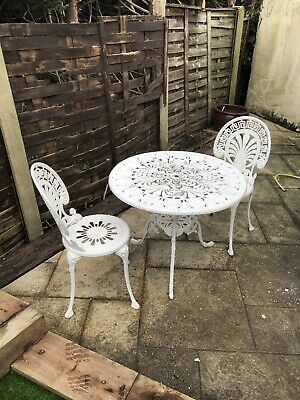 White Cast Aluminium Wrought Iron Style Garden Table And 2 Chairs • 95£