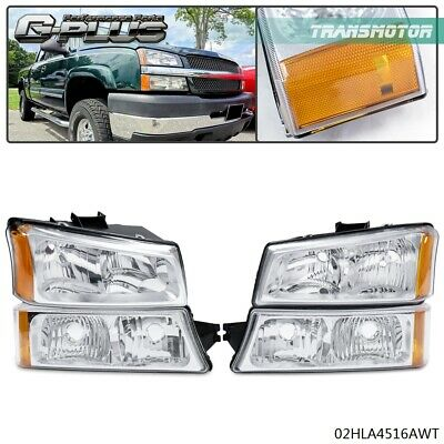 $63.89 • Buy For 03-06 Chevy Silverado Chrome Amber Corner Headlights + Signal Bumper Lamps