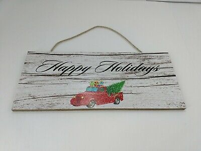 Wall Decor Sign  Happy Holidays  Red Truck And Tree Wooden Plaque Christmas. • 7.16£