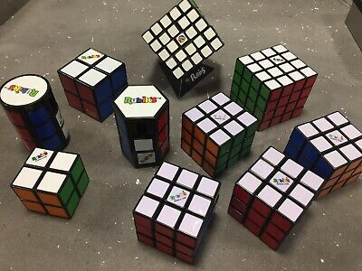 AU135.95 • Buy Bulk Lot 10x Rubik's Rubix Cubes 2x2 3x3 4x4 5x5 Cylinder Hexagon + Stand Solved