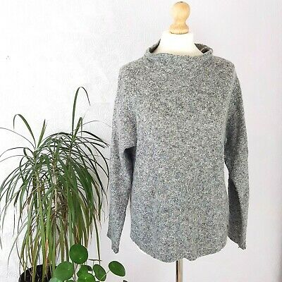White Stuff Grey Fuzzy Slouchy Mock Neck Jumper Wool Mohair Sweater Knitted 18 • 24.99£