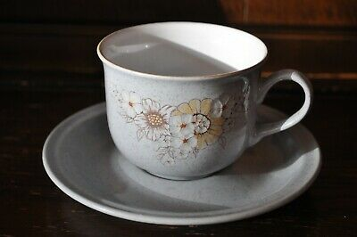 DENBY Gorgeous Grey Stoneware  Reflections  Pattern Duo Cup And Saucer Set • 6£
