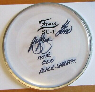 Roy Wood Bev Bevan ELO The Move SIGNED Drum Skin 100% Genuine + Hologram COA • 99.99£
