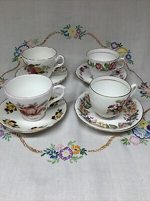 4 Mismatched Vintage Floral English Bone China Cups & Saucers Afternoon Tea💛 • 11.50£