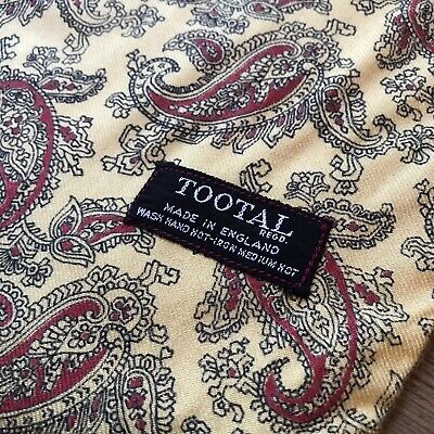 Vintage Tootal Scarf. Yellow With Bold Red Paisley Print  • 45£