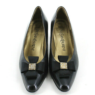 Yves Saint Laurent YSL Leather Court Shoes Mary Jane Heels In Black Size UK 2.5 • 75£