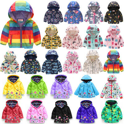 Kids Boy Girls Toddler Hooded Coat Jacket Summer Fall Outerwear Clothes Age 2-8 • 10.59£