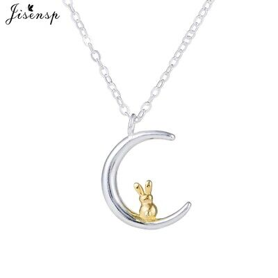 £5.20 • Buy UK Silver Mini Gold Rabbit On Moon Necklace A12