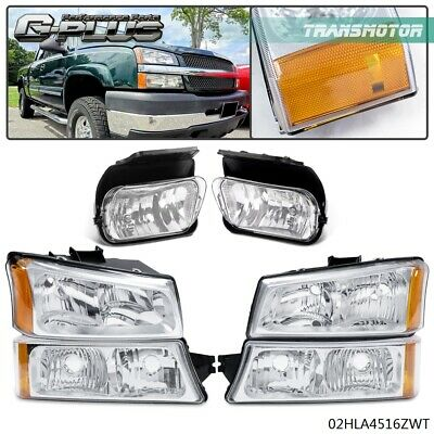 $88.50 • Buy For 03-06 Chevy Silverado Chrome [Factory Style] Bumper Headlights+Fog Lamps Kit