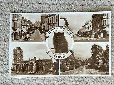 A Vintage Postcard With 4 Views  And Good Luck From Yeovil Dated 1956 • 0.99£