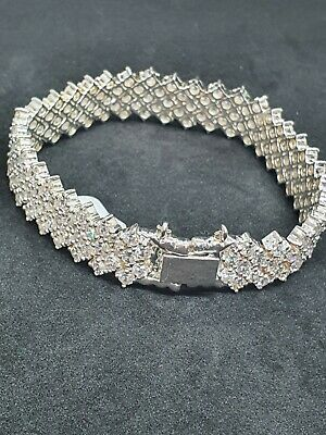 New Sterling Silver 925, Cubic Zirconia Tennis Bracelet, Thick • 65£