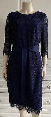 RRP£310 - WEILL Navy MURCIE Lace Dress With Self-tie Ribbon Belt - UK12-14 • 69.99£